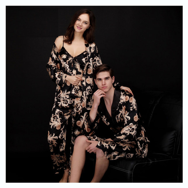 Fashion Men Robes Women Pajama Sets Faux Silk Sexy Couple Home Sleepwears Pajamas Printed Pattern Long Sleeve Men 's Bathrobes