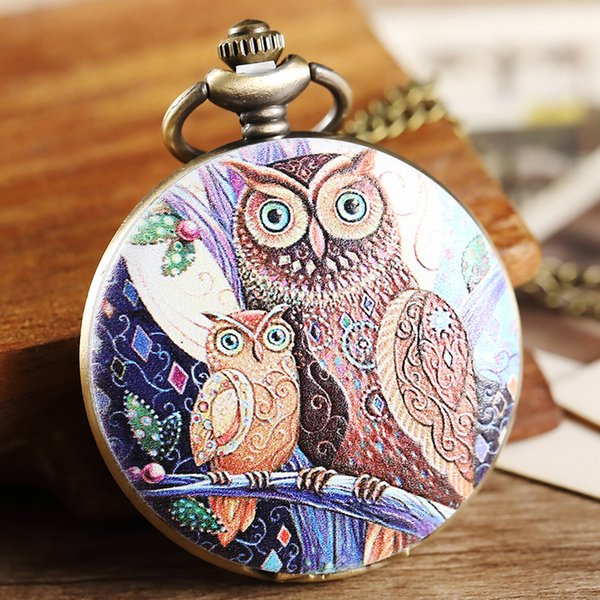 Vintage Purple Two Owl Pattern Pocket Watch Women Men Painted Steampunk Bronze Pocket Watch Elegant Women Necklace Pendant Chain