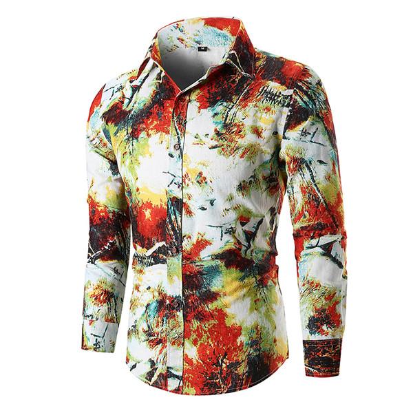 Splash Ink Print Shirt Men 2018 Luxury Brand Long Sleeve Mens Dress Shirts Wedding Party Prom Shirt Male Camisa Social Masculina