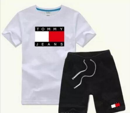 HOT Spring Logo Designer Boy's T-shirt + Pants 2-7 Age Suit Kids Brand Children's 2pcs Cotton Clothing Sets Boy Fashion Clothes