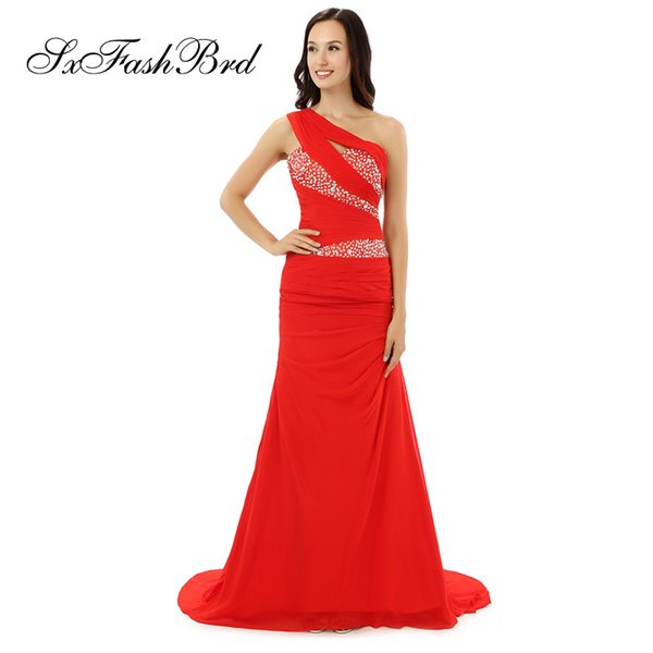 Gala Maxi Elegant One Shoulder With Beading Mermaid Red Chiffon Long Party Formal Evening Dresses Women Prom Dress Gowns