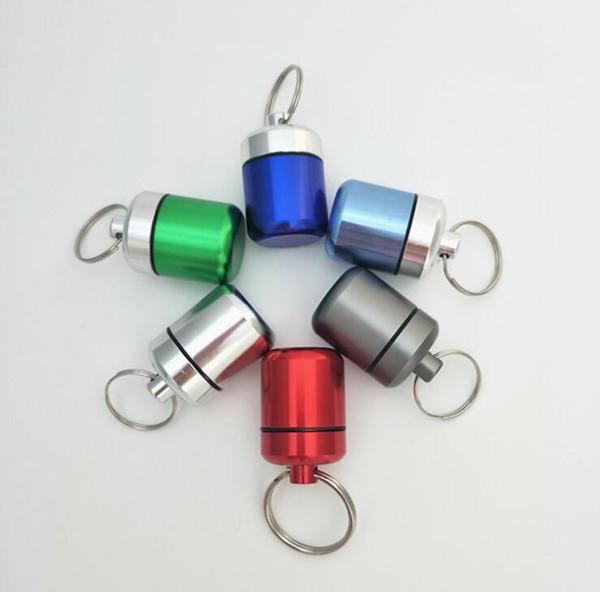 Tabakdose Wasserdichte Headset Münzbox Schmuck Fall schlüsselanhänger Schlüsselanhänger Speicherorganisator Flaschenhalter Container Gläser 42 * 27mm Mehrere farbe
