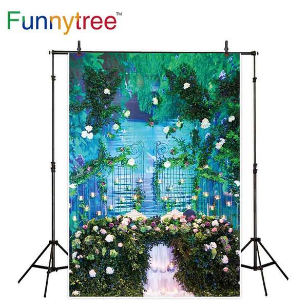 Funnytree-Hintergrund für Fotostudio-Blumenbogentorgarten-Flussbäume für Hochzeitsfotografiehintergrund photocall photobooth