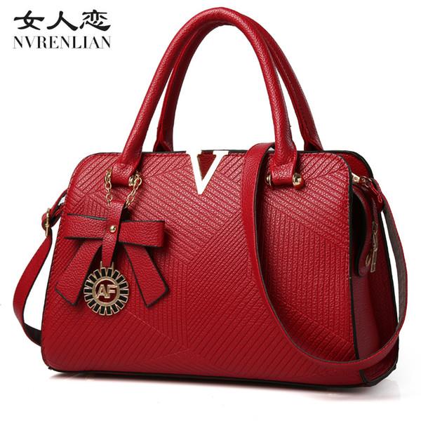 NVRENLIAN Famous Brand Leather Women Handbags V Letters Designer Luxury Lady Shoulder Crossbody Bags Woman Messenger Bag Bolsas