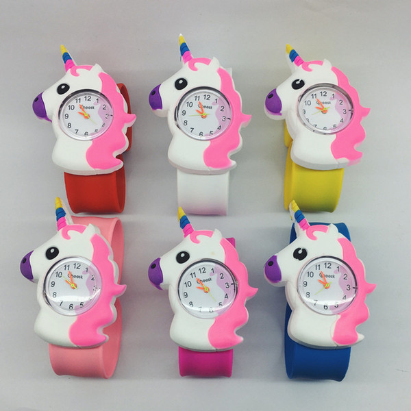 Crianças dos desenhos animados unicórnio tapa relógio crianças meninos meninas silicone relógio de pulso bonito de quartzo relógios de pulso crianças tapa tapa relógios 2018 presente de natal