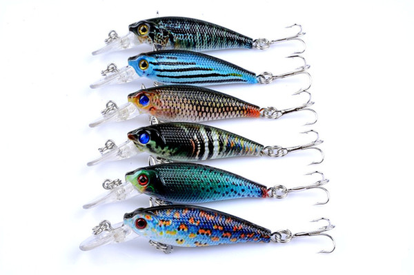Best selling 6.5cm/5g Hard Plastic Lures Fishing Hooks Fishhooks 3D Minnow Fishing Lure 8# Hook Artificial Bait Pesca Tackle