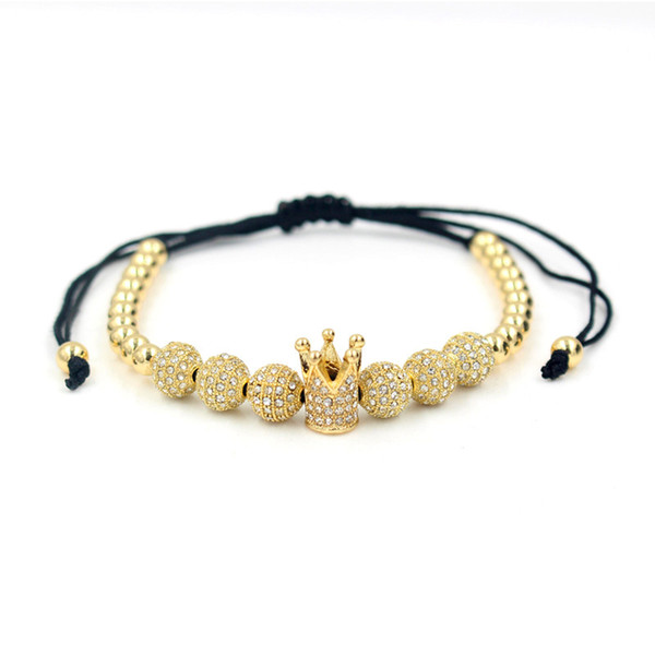 Hot sale Zircon Bracelets Men Jewelry Cubic Micro Pave CZ Crown Charm & 4mm Round Beads Braided Bracelet