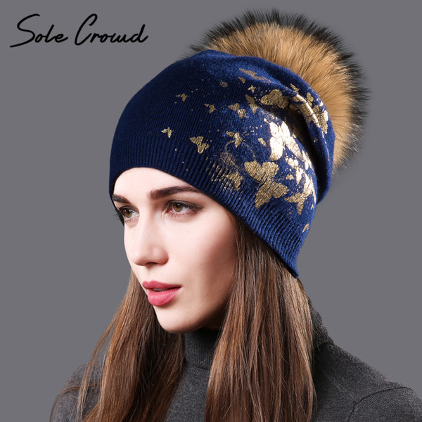 Sole Crowd Fashion print gold butterfly hats for women winter warm knitted  wool caps raccoon fur pompoms hat skullies beanies f9d92faad7d6