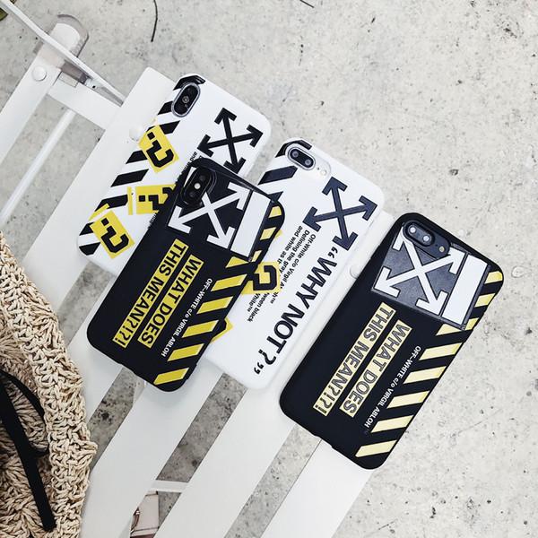 Graffiti Stripe Contraportada suave Doble pulsera Cuerda Cáscara del teléfono Carta impresa Protector blanco para iPhone XS Max XR 6s 7 8 Plus