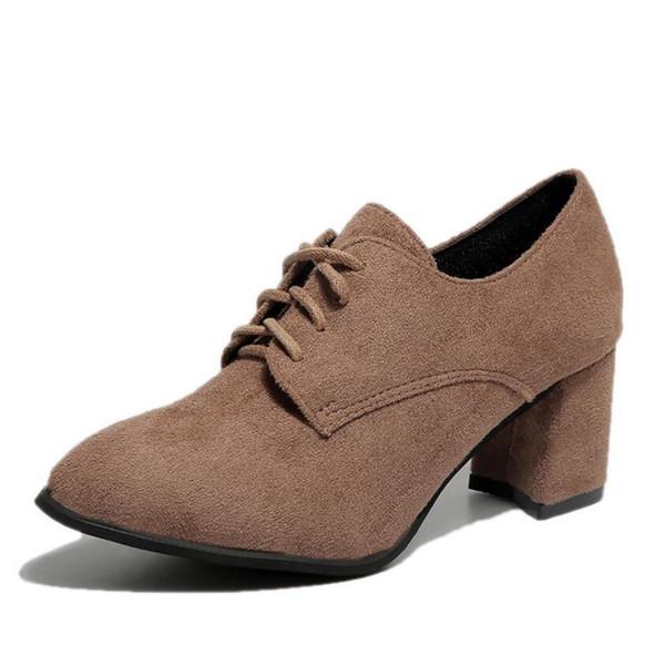 Xiaying Gülümseme Bahar kış İngiliz tarzı Süet deri kadın kare topuk Platformu ayakkabı kadın dantel-up kadınlar için oxford ...