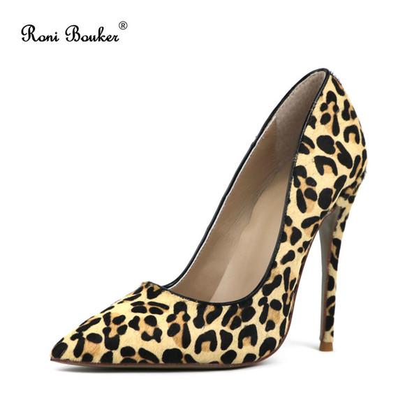 Été en cuir de crin de cheval bout pointu pompes Sexy léopard parti talons hauts chaussures à la main des femmes Livraison gratuite
