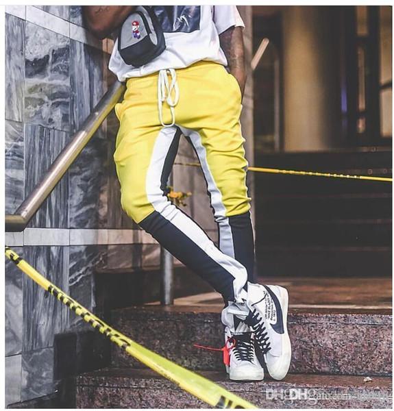Stitching Color Bar Zipper Leg Mens Joggers Casual Pantaloni sportivi Harem Sporta Pantaloni Uomo FOG Tute Gym Bottoms Track Pantaloni Joggingu