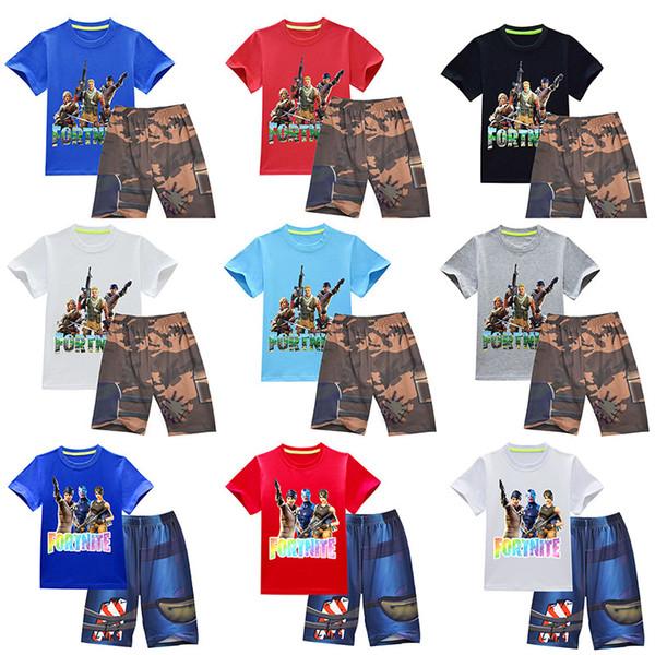 DHL Boutique 24 style Style Fortnite Outfit for Summer boy Cotton T Shirt Top+Shorts Pants 2 pcs set H054