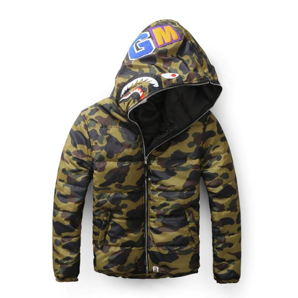 Male tide shark Animal printing Sleeve head Camouflage thickening Cotton sweater Caps Casual coat Sereetwear hoodies