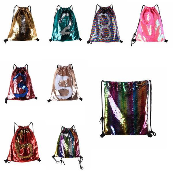 top popular Glitter Mermaid Sequins Backpacks Drawstring Portable Glittering Shoulder Bag Outdoor Bag Gym Sport Sack Bag 36*42cm FFA190 12PCS 8styles 2019