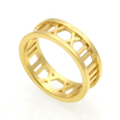 Wholesale hollow Titanium Stainless steel roman number rings for women men finger rings high quality