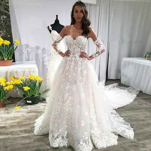 Lace Wedding Dresses With Long Sleeves Sweetheart Backless Wedding Dress Sexy Long Train Bohemia Beach Bridal Gowns