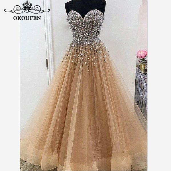 Luxury Silver Rhinestone Mother Of The Bride Dresses Pageant 2018 Champagne Tulle Sweetheart Neck Long Red Carpet Prom Dress