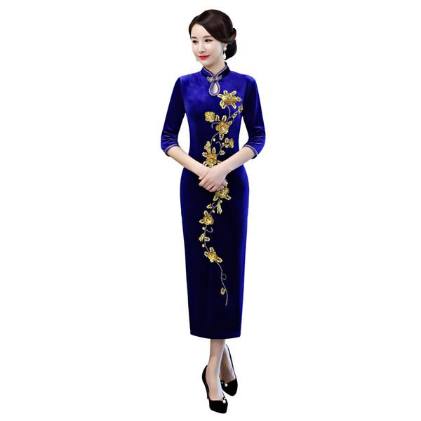 Shanghai Story 2019 New Sale long Qipao Dress Floral Embroidery Cheongsam Dress Chinese Women's dress Velvet Oriental Dresses