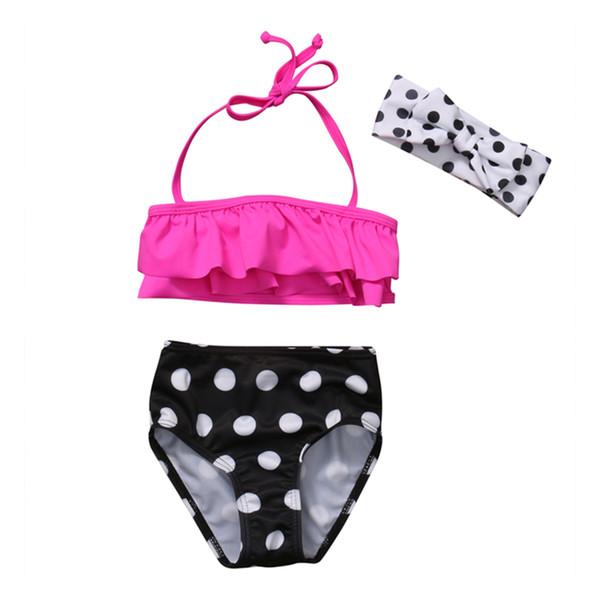 Summer kids girls pink rruffles swimsuit dot swimwear with headband children split swimsuits girls Bikinis children beach boutique