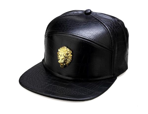 Cappelli Hip Hop da uomo Street Dance Hiphop Cappelli Golden Strass Lion Head Logo Cappellini da baseball PU in pelle Casual Unisex Cappelli da sole Snapbacks DHL
