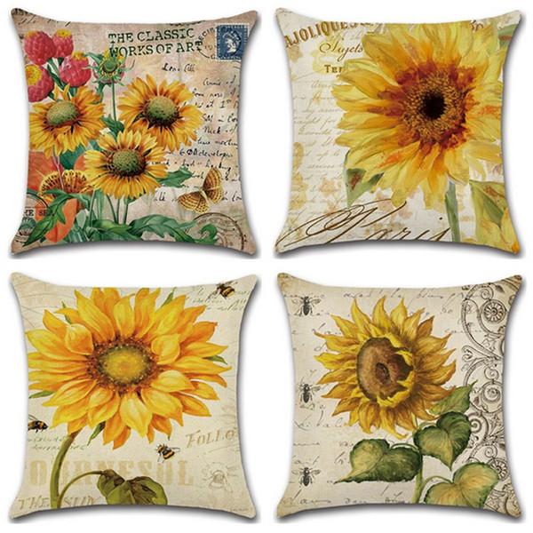 Sonnenblume Kissenbezüge Vintage Handbemalte Blume Baumwolle Leinen Dekokissen Fall Für Sofa Kissenbezug Kissenbezug