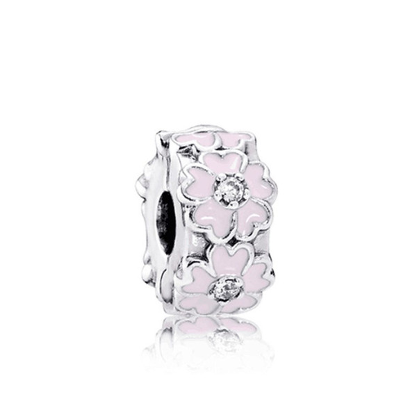 White Or Pink Painted Flower Space Charm Bead Big Hole Fashion Women Jewelry European Style For DIY Bracelet Necklace