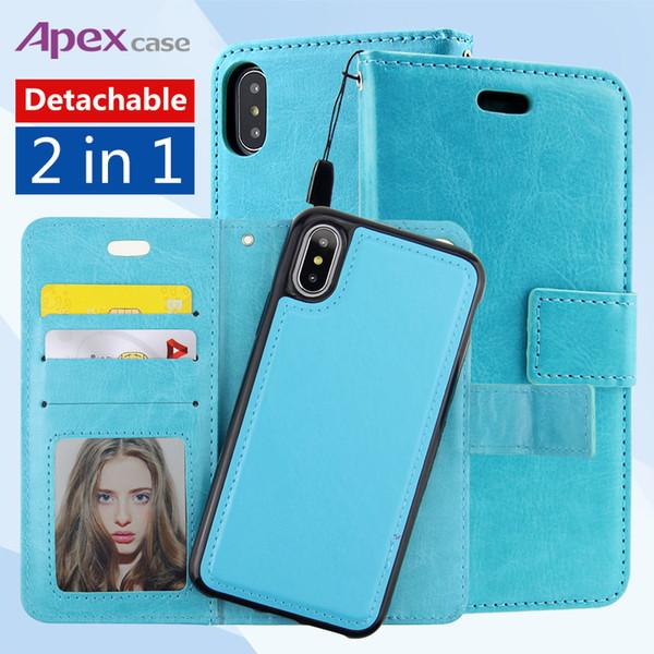 Para iPhone X 8 7 6 plus Estuche de cuero retro extraíble con imán extraíble imán extra montable 2 en 1 para Samsung Galaxy note 8 s8 plus