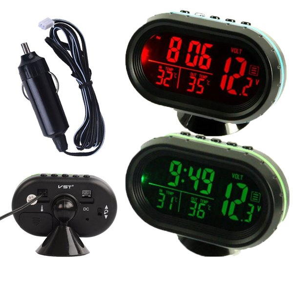 Car Auto Voltmeter Thermometer Electronic Alarm Clock 12V 24V Digital LCD Green & Orange LED Monitor Black Universal