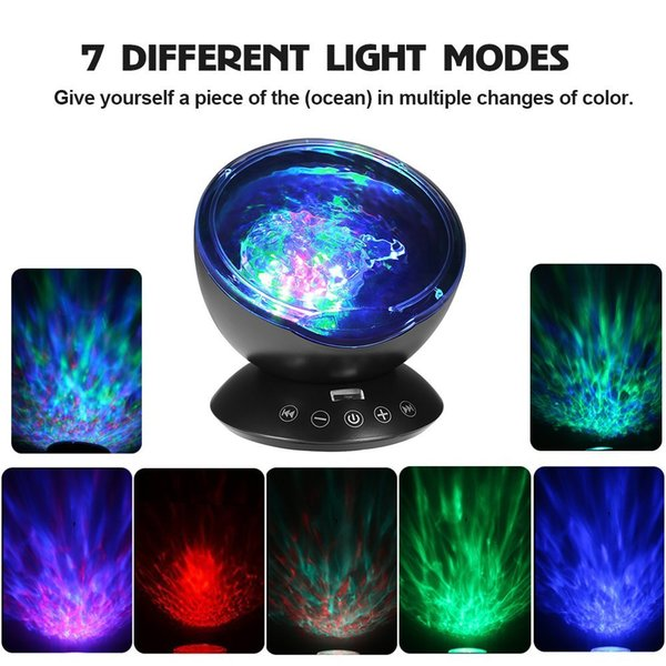 Remote Control Ocean Wave Projector 12LED Night Light Lamp with Built-in Music Player, 7 Color Changing Lighting Modes, Perfect Choice