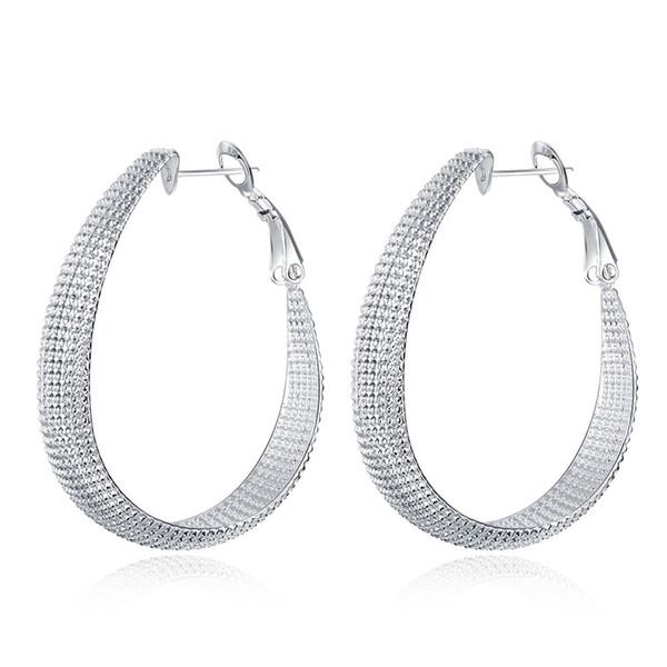 20118 Nuovo arrivo Argento 925 orecchini rotondi tessitura cerchio di modo di Huggie LKNSPCE064 trasporto libero regalo gioielli delle donne rendendo europea
