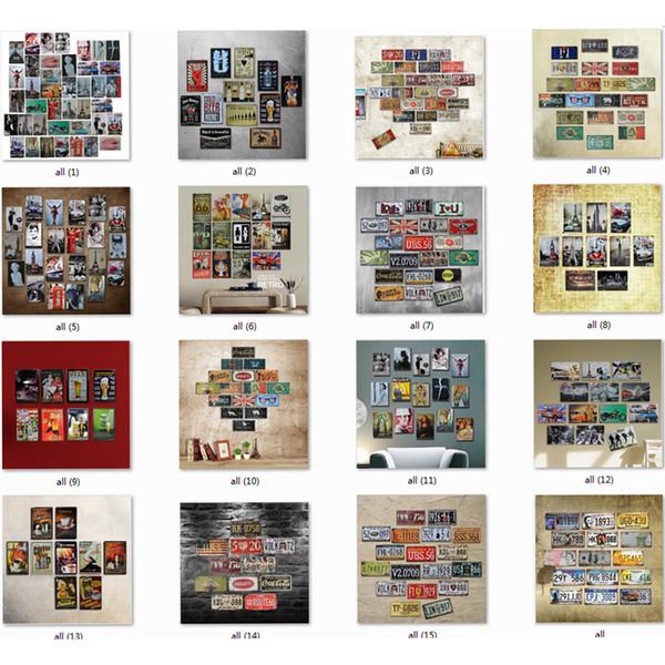 En gros 200 Styles Métal Peinture Moteur Huile Route Du Garage 66 Rétro Voiture Vin Caractère / Bâtiments Vintage Home Decor Tin Signe Bar Pub Décor