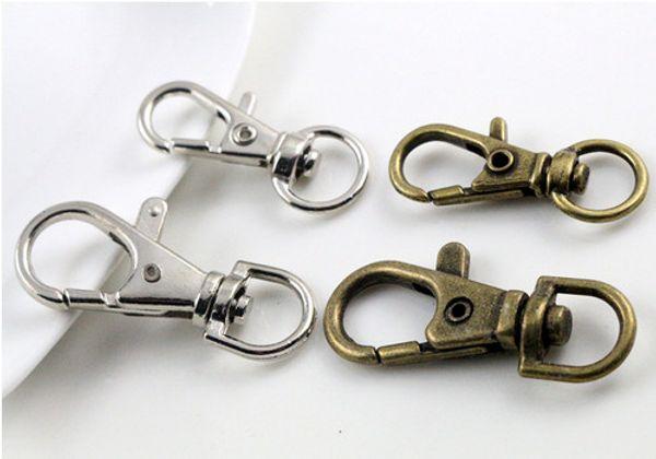 best selling 80pcs Silver bronze Plated Metal Swivel Lobster Clasp Clips Key Hooks Keychain Split Key Ring Findings Clasps Making 30mm