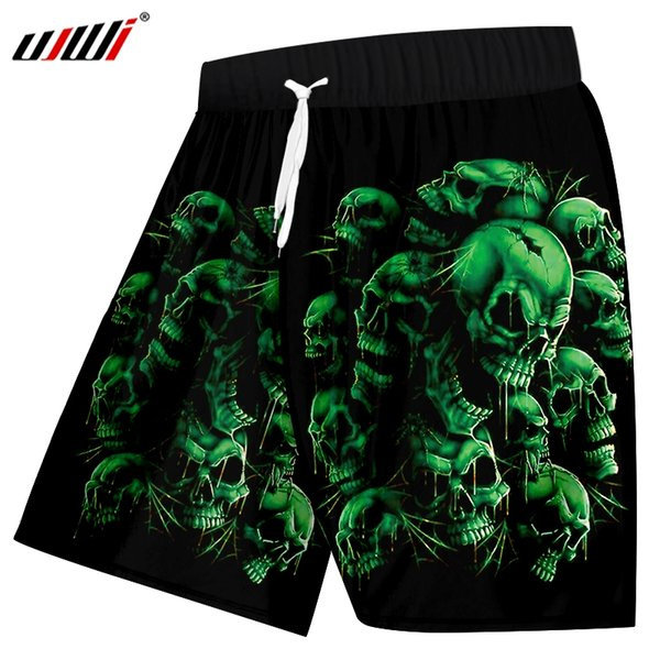 UJWI Men's Casual Shorts Summer Print Green Skull Board shorts Man Bodybuilding Fitness Knee Length Boxers Trousers Big Size 5XL