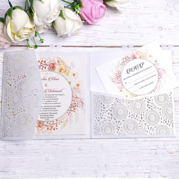 New White Square Wedding Invitation Cards With Belt For Wedding Birthday Engagement Greeting Invitations Cards Invite With Free Rsvp Cards Free Online