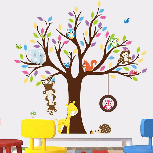 Colorful 3d animals tree wall stickers for baby room home decor monkey owl wall decals kids cute children stikers