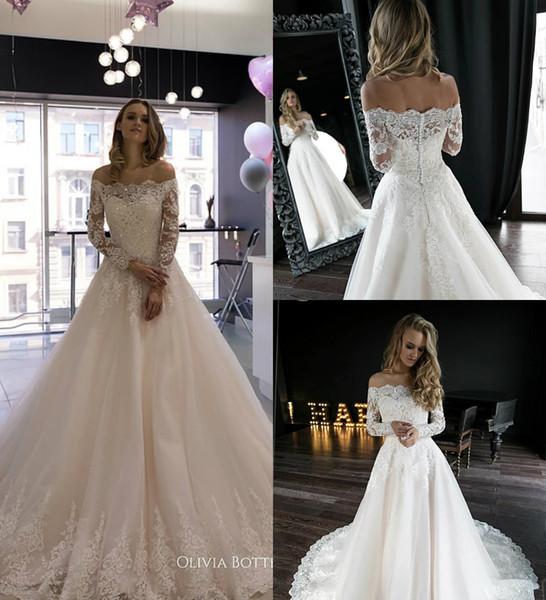 dressvip / 2019 Olivia Bottega Vestidos de novia de playa Una línea de apliques de encaje en el hombro Vestido de boda de manga larga en el país Con cuentas B