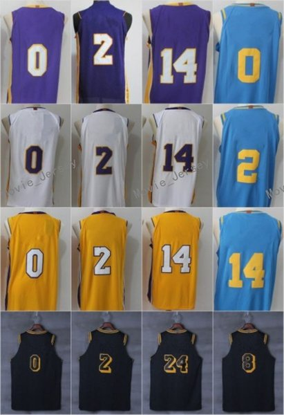 sports shoes 063f1 0b482 2017 New Game Jersey 0 Kyle Kuzma 11 Brook Lopez 14 Brandon Ingram 2 Lonzo  Ball 8 24 Mpls Hardwood Classic White Purple Yellow The City Stitched From  ...