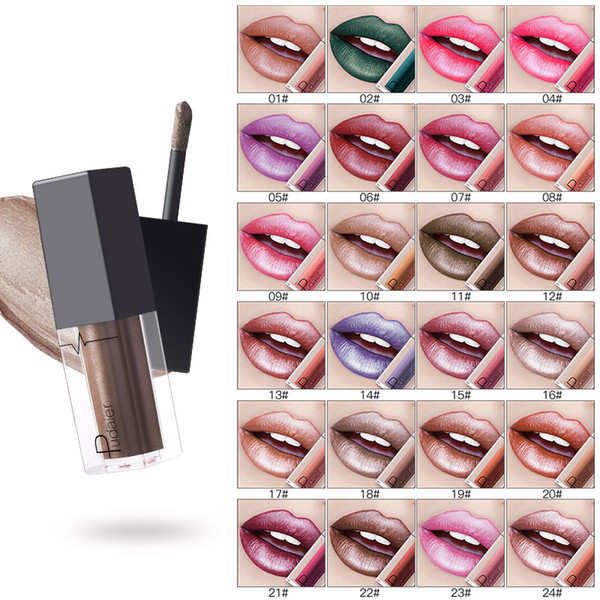 Pudaier metallic lip gloss lasting do not fade does not stick cup mouth red pearl lipstick green nude color lips make-up