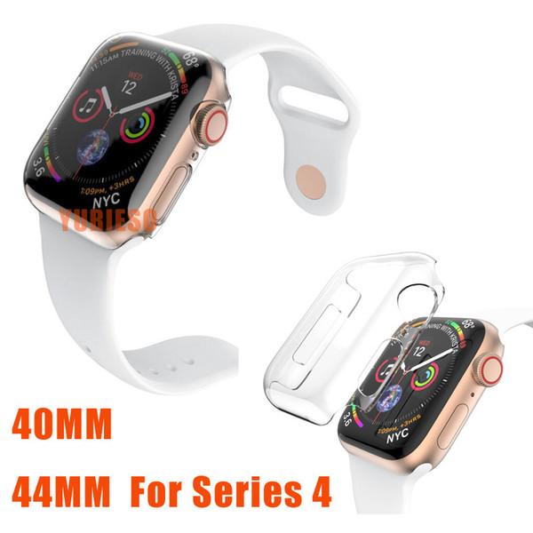 Apple watch serisi 4 için yeni 40mm / 44mm kristal ultra ince sert pc plastik şeffaf koruyucu kabuk temizle kasayı