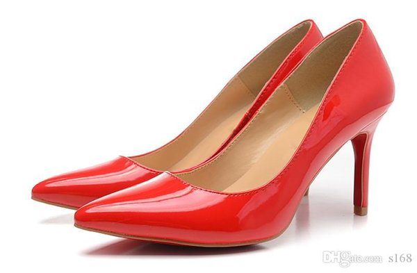 The big red paint red bottom high heels women shoes 12cm high heel ladies female shoes low footwear pumps wedding shoes Fashion Hot Salling
