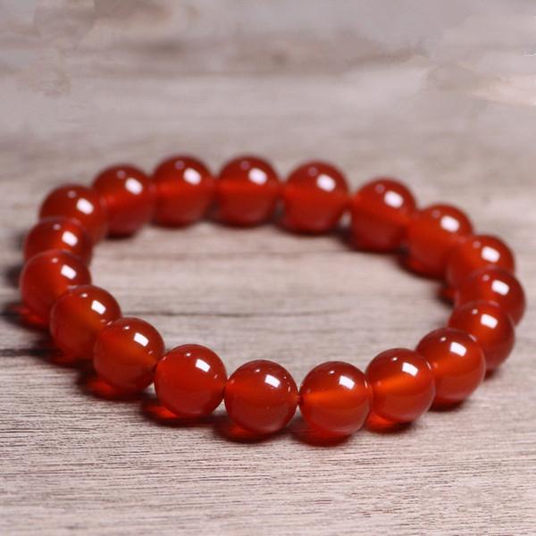 Natural Stones Red Agate Bracelet Onyx Crystal Quartz Round Bead Men Women Bracelet Healing Energy Gift Lucky Jewelry