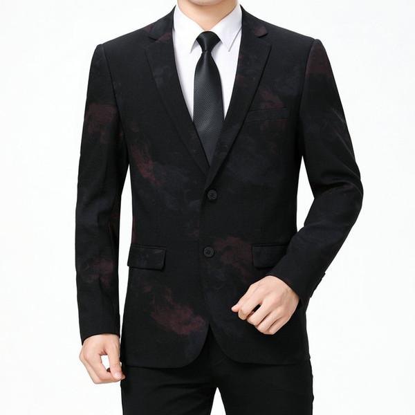 Uomo Elegance Blazer Red Green Print Jacket Suit Uomo Blazer colletto con intaglio Uomo Leisure Outfit Slim Fitting Mans Abbigliamento Autunno L