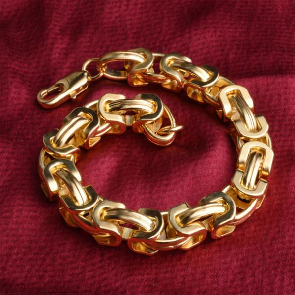 18K Gold Men Bracelet Rock Style Chain Charm Bracelet Never Fade Fine Jewelry