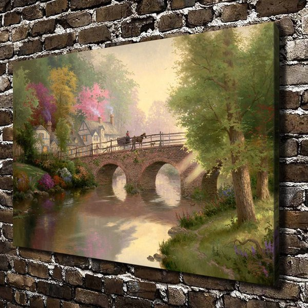 (Thomas Kinkade) Hometown Bridge Scenery,Home Decor HD Printed Modern Art Painting on Canvas (Unframed/Framed)