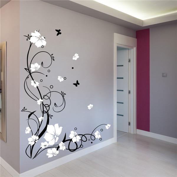 J3 flor de la vid de la mariposa grande vinilo removible pegatinas de pared árbol pared arte calcomanías Mural para sala de estar dormitorio decoración para el hogar