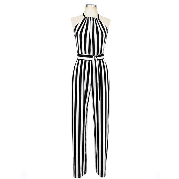 Sisjuly summer Women Wide legs halter Jumpsuit Sleeveless Backless EleStriped Sexy Spaghetti Strap Rompers Casual Jumpsuits