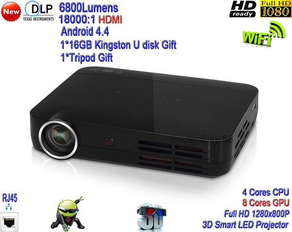 2018 New DLP WiFi Home Theater Projector 6800lumens LED Projector Full HD 1080P Android 4.4 System Advanced 3D Smart Projector