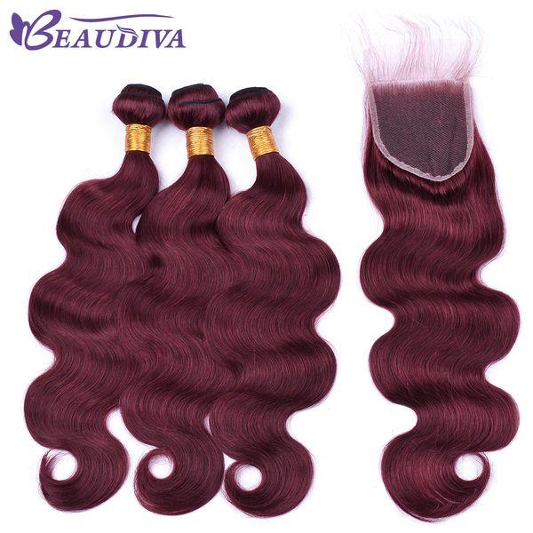 Beau Diva Pré Coloré 99J Foncé Rouge Ensembles De Cheveux Humains Avec Fermeture Brésilien Body Wave Ensembles De Cheveux Avec Fermeture Remy Cheveux Brésiliens