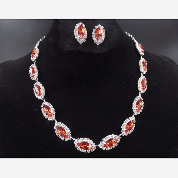 YT048 Wedding Necklace Set Fashion Alloy Red/Pink Rhinestone Jewelry Factory Direct Jewelry Set Crystal Jewelry Sets for Brides